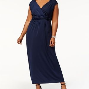 NY Collection Plus Size Ruched Empire Maxi Dress,